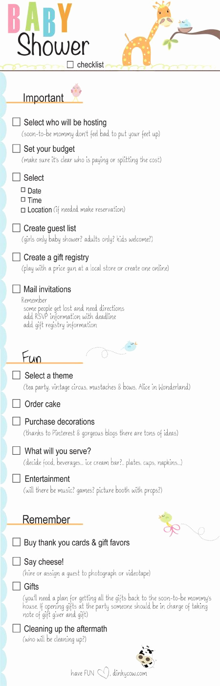 Baby Shower to Do List Beautiful Baby Shower Checklist for Party Planning Printable