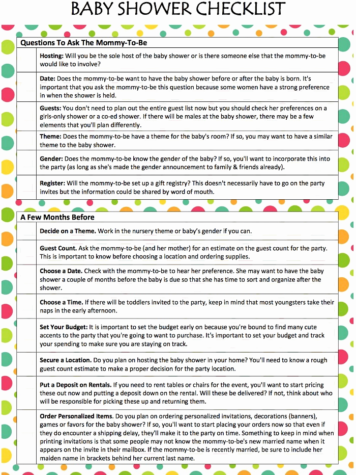 Baby Shower to Do List Best Of Baby Shower Checklist Free Printable Moms & Munchkins