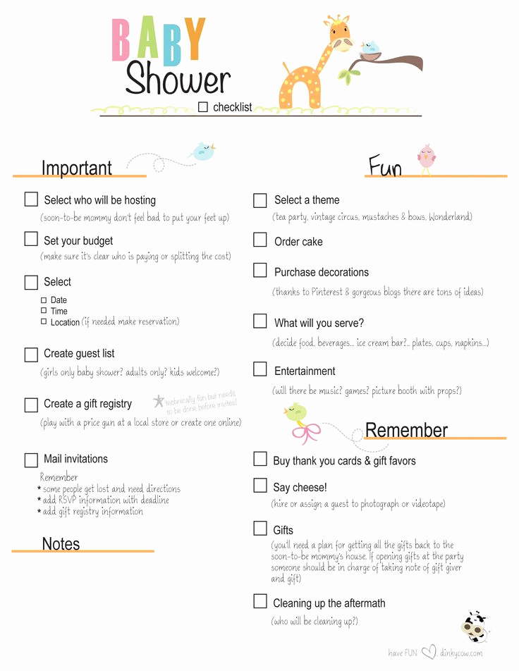 Baby Shower to Do List Elegant Free Printable Baby Shower Checklist