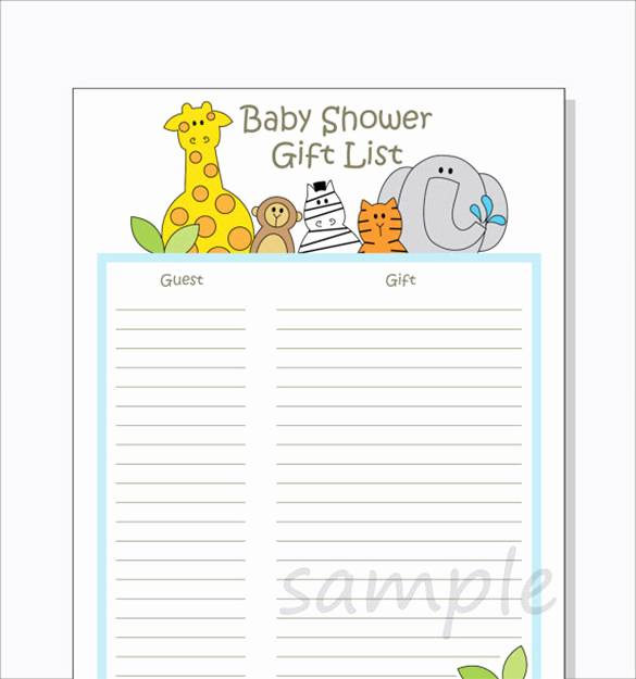 Baby Shower to Do List New Baby Shower Gift List Template 5 Free Sample Example