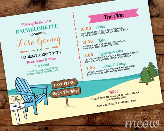 Bachelorette Party Itinerary Template Beautiful Bachelorette Invite Itinerary Girls the Lakes Invitation