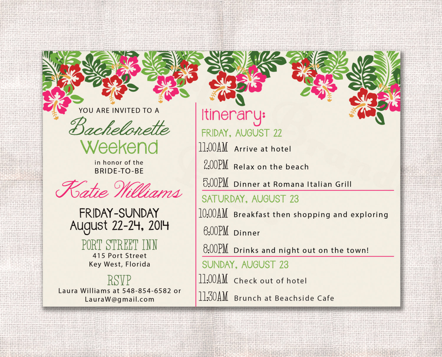 Bachelorette Party Itinerary Template Best Of Bachelorette Party Weekend Invitation and Itinerary Custom