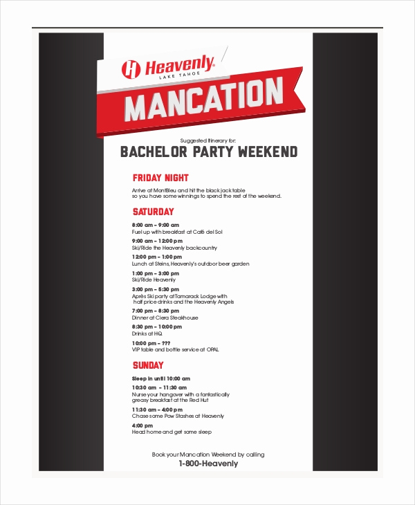 Bachelorette Party Itinerary Template Best Of Party Itinerary Template 8 Free Word Pdf Documents