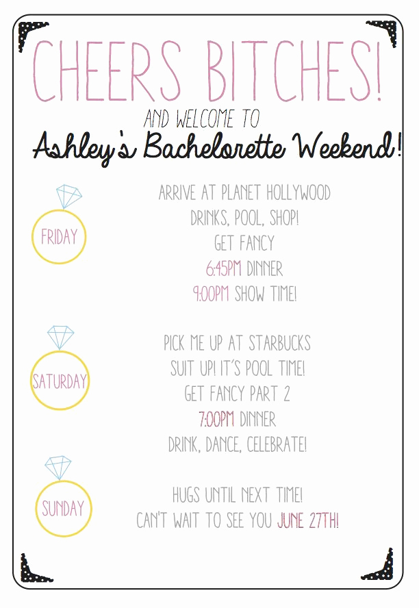 Bachelorette Party Itinerary Template Elegant Cheers Bitches Use This Custom Printable Bachelorette