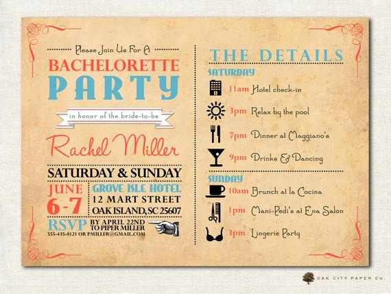 Bachelorette Party Itinerary Template Fresh Bachelorette Invitation Bachelorette Party Invitation