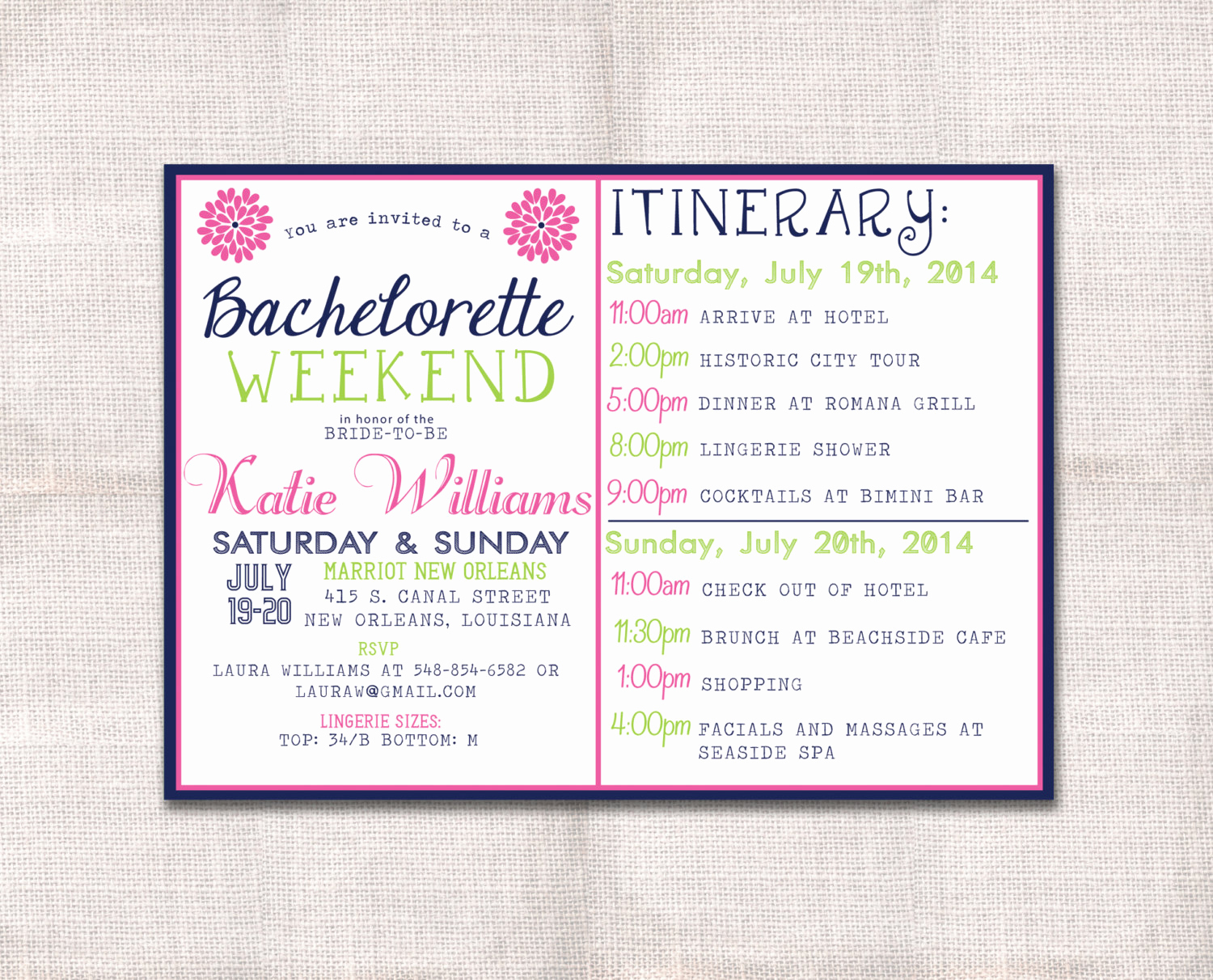 Bachelorette Party Itinerary Template Fresh Bachelorette Party Weekend Invitation and by Darlinbrandopress