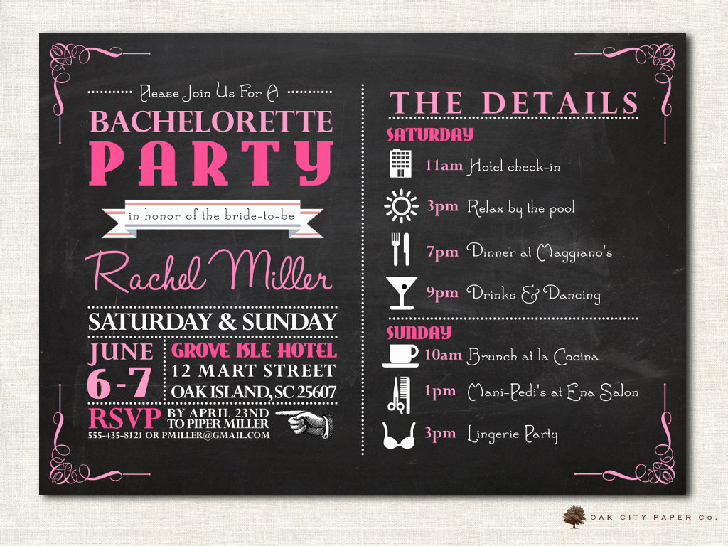 Bachelorette Party Itinerary Template Inspirational Bachelorette Invitation Bachelorette Party Invitation