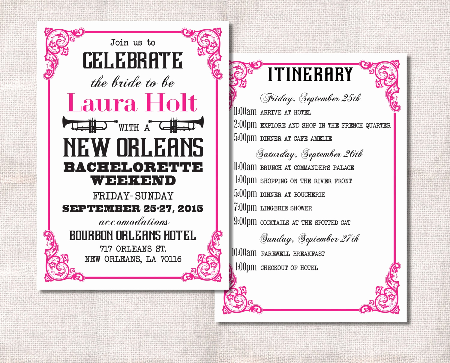 Bachelorette Party Itinerary Template Inspirational Bachelorette Party Weekend Invitation and Itinerary Custom