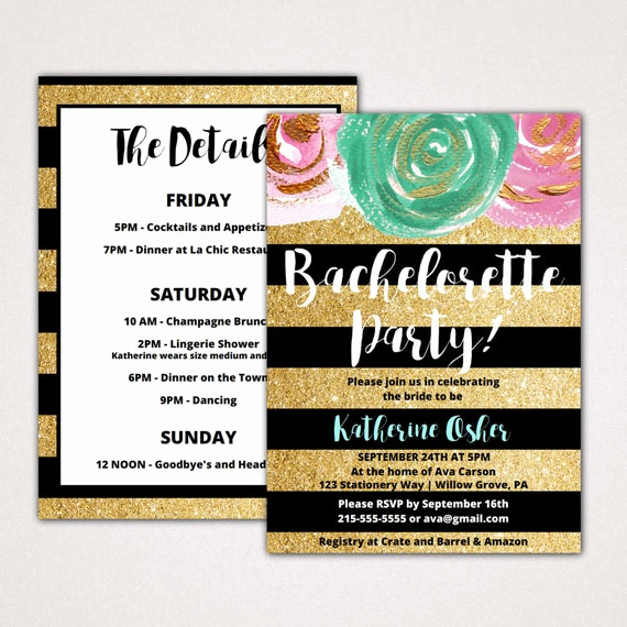 Bachelorette Party Itinerary Template Inspirational Gold and Black Bachelorette Party Invitation with