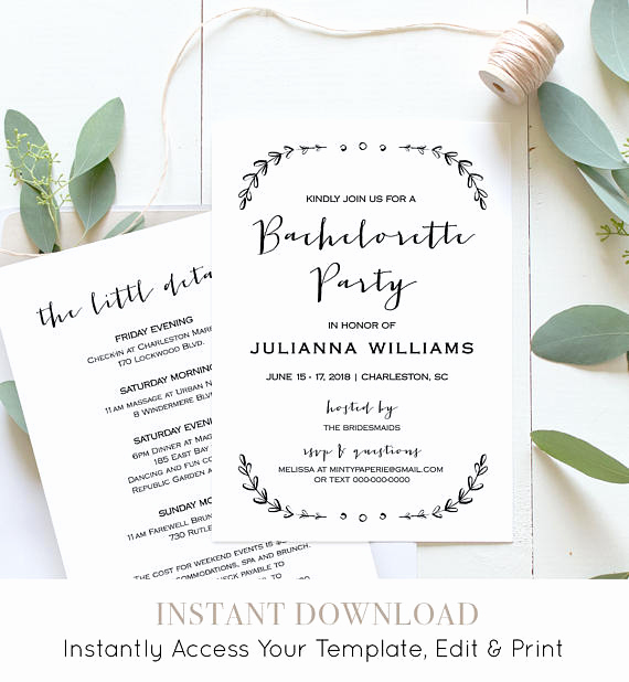 Bachelorette Party Itinerary Template Lovely Bachelorette Party Invitation Template Printable Rustic