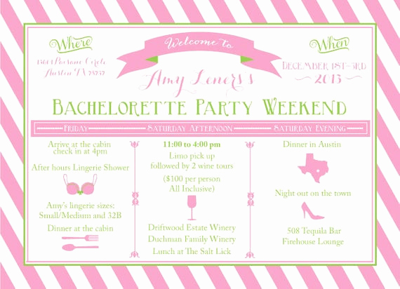 Bachelorette Party Itinerary Template Luxury Items Similar to Printable Bachelorette Weekend Itinerary