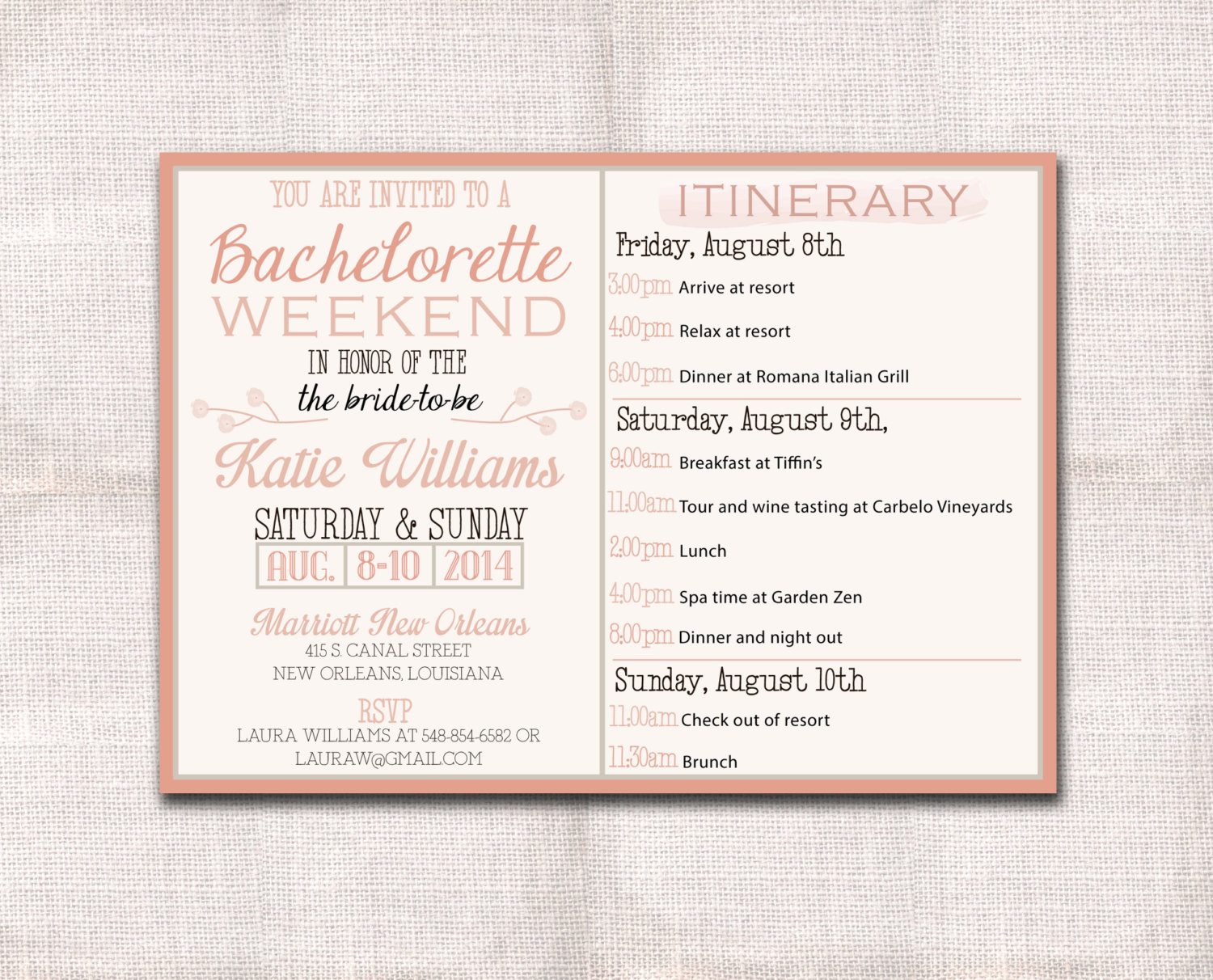 Bachelorette Party Itinerary Template New Bachelorette Party Weekend Invitation and Itinerary Custom