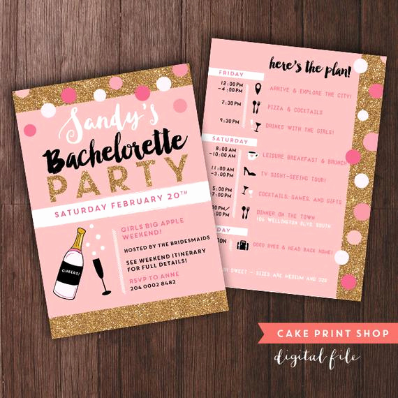 Bachelorette Party Itinerary Template New Bachelorette Weekend Invitation with Itinerary Bachelorette