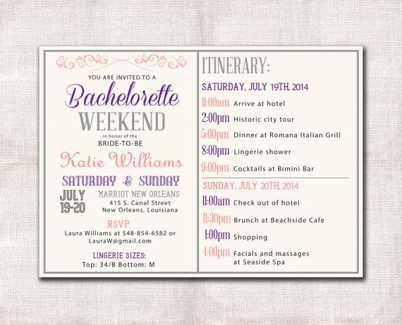 Bachelorette Party Itinerary Template Unique Bachelorette Party Weekend Invitation and Itinerary Custom