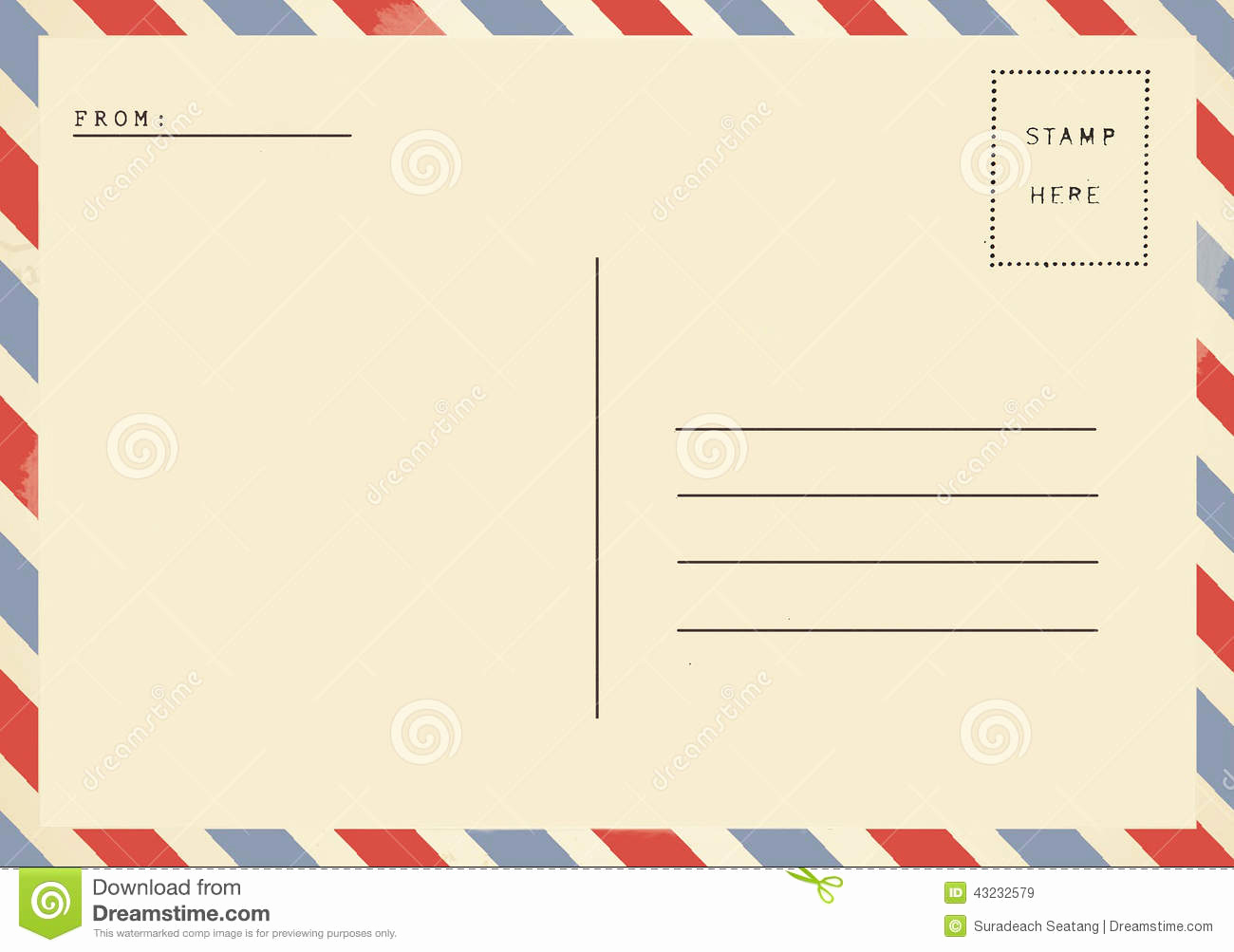 Back Of Postcard Template New Back Airmail Blank Postcard Stock Image