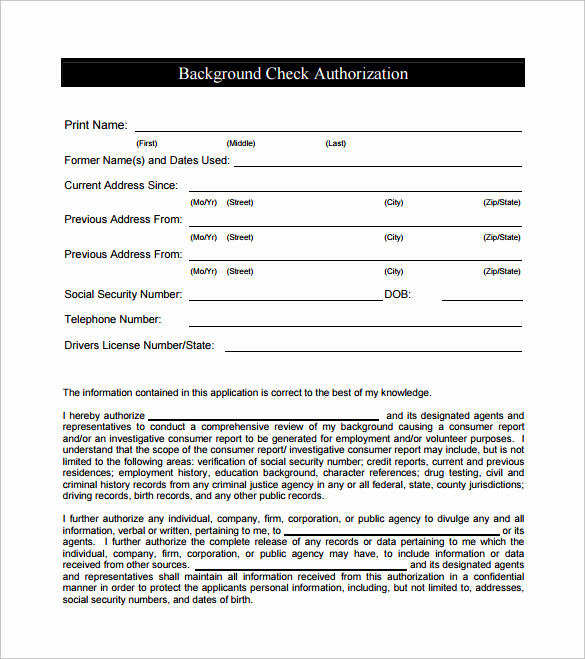 Background Check form Template Free Elegant 8 Sample Background Check forms to Download