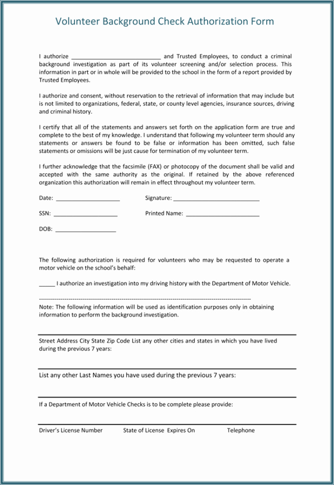 Background Check form Template Free Elegant Background Check Authorization form 5 Printable Samples
