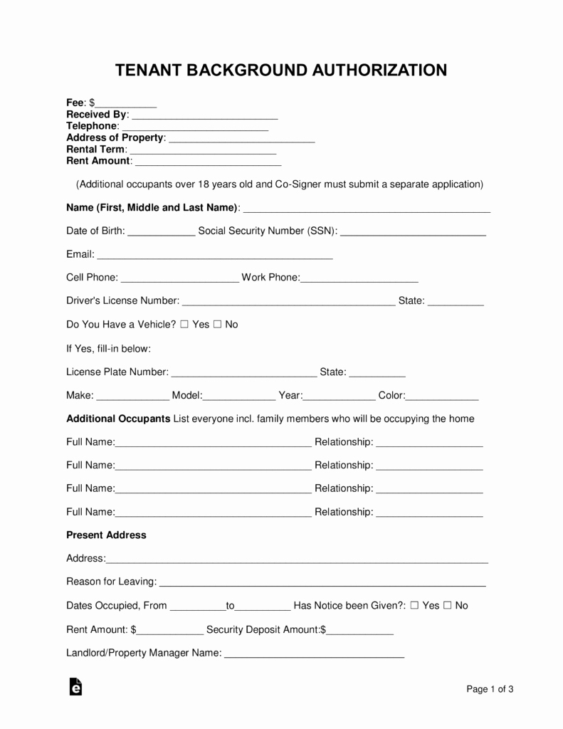 Background Check form Template Free Elegant Free Tenant Renter Background Check form Word