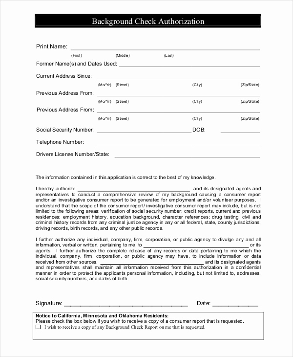 Background Check form Template Free Elegant Nanny Application Templates 6 Free Word Pdf Document