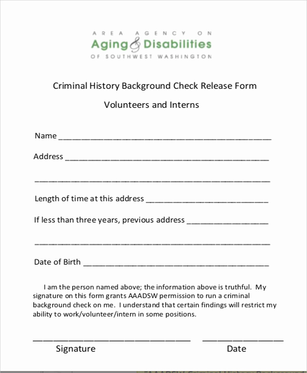 Background Check form Template Free Fresh 8 Sample Background Check Release forms