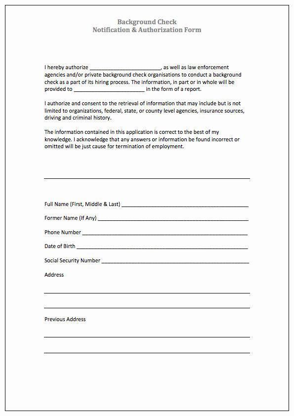 Background Check form Template Free Inspirational Authorization form Templates
