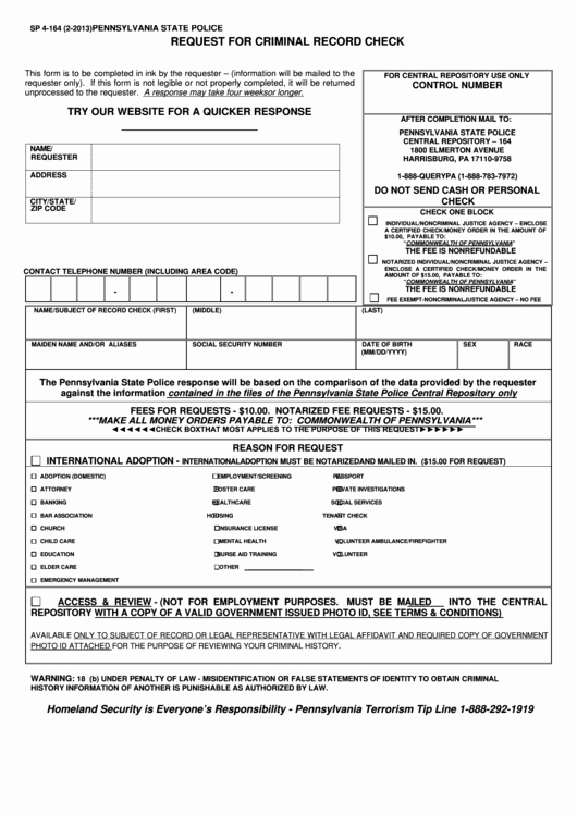 Background Check form Template Free Inspirational form Sp 4 164 Pennsylvania State Police Request for
