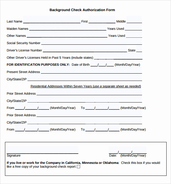Background Check form Template Free Lovely Background Check Authorization form 10 Download Free