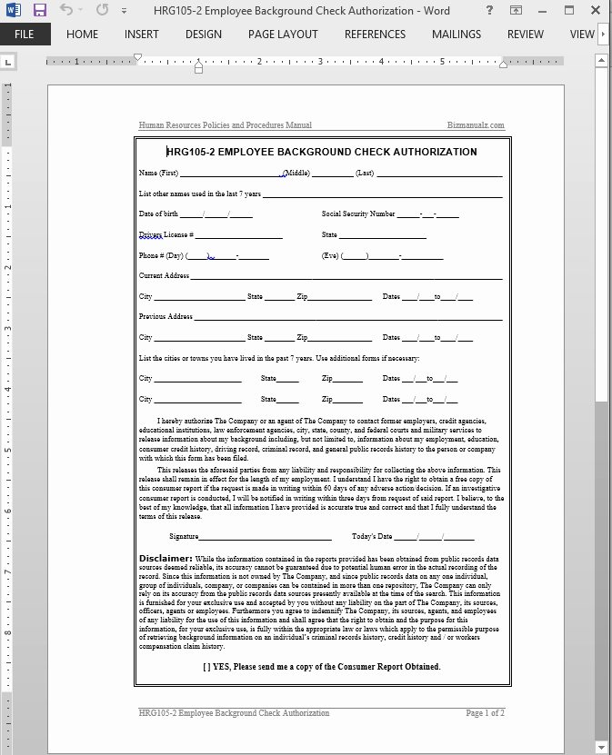 Background Check form Template Free Unique Employee Background Check Authorization Template
