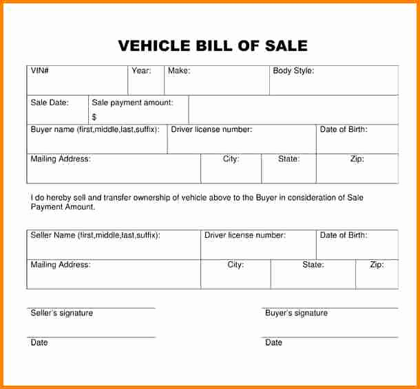 Basic Bill Of Sale Lovely 3 Simple Bill Of Sale for Car