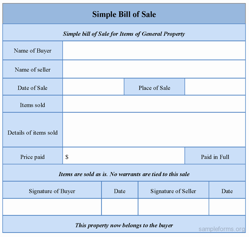 Basic Bill Of Sale New Simple Bill Of Sale Sample forms