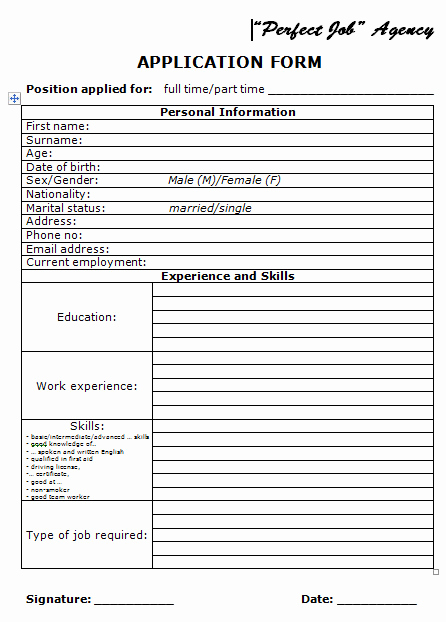Basic Job Application Printable Best Of Application form and Basic Job Interview Questions