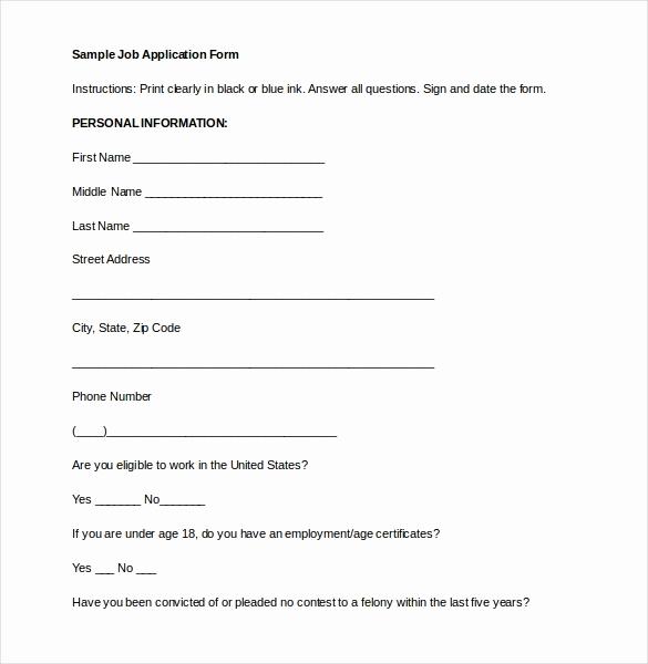 Basic Job Application Printable Fresh 15 Employment Application Templates – Free Sample
