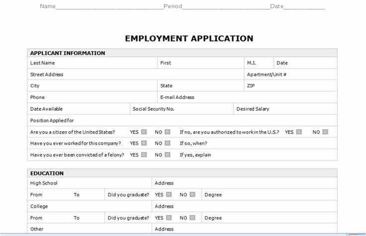 Basic Job Application Printable Fresh Free Employment Application Templates