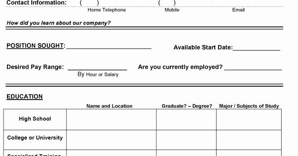 Basic Job Application Printable Inspirational Basic Application Templates West Pike