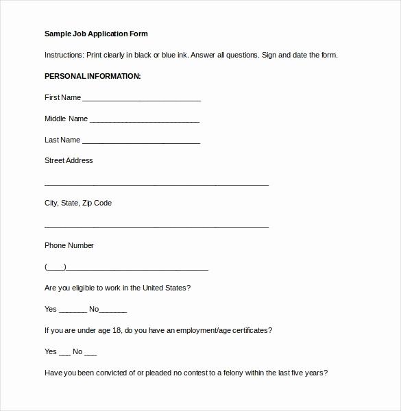 Basic Job Application Printable Luxury 21 Employment Application Templates Pdf Doc