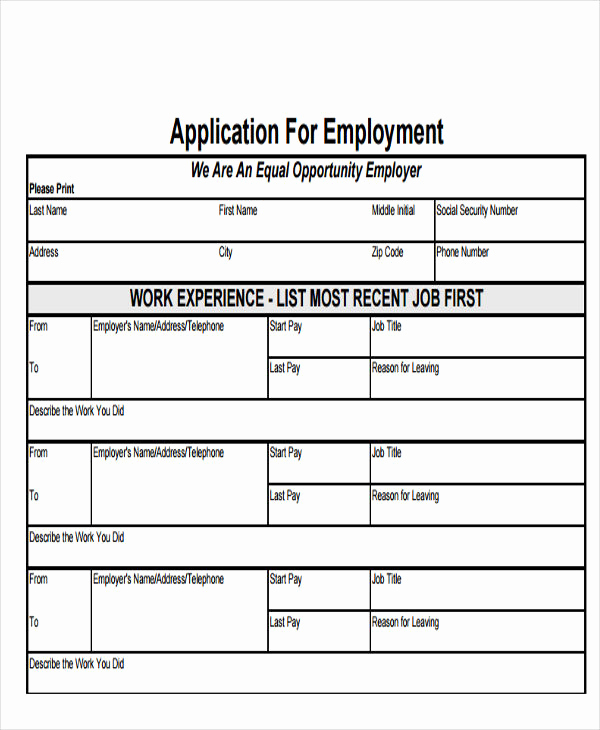 Basic Job Application Printable New 49 Job Application form Templates