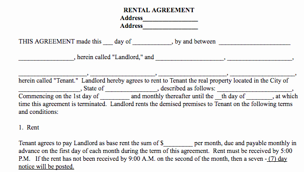 Basic Lease Agreement Template Awesome Basic Rental Agreement In A Word Document for Free