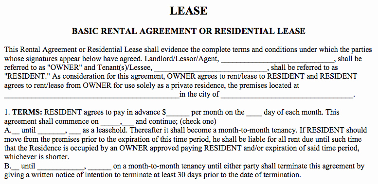 Basic Lease Agreement Template Beautiful Basic Rental Agreement In A Word Document for Free