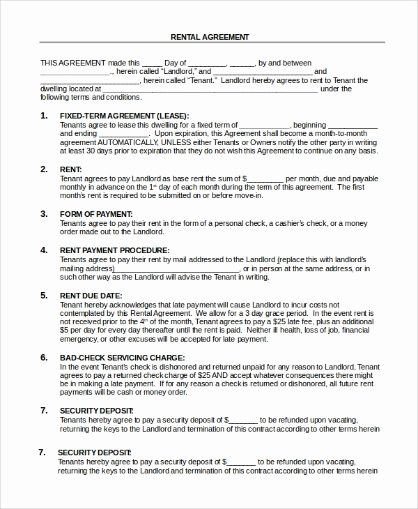 Basic Lease Agreement Template Beautiful Sample Basic Rental Agreement 8 Examples In Pdf Word