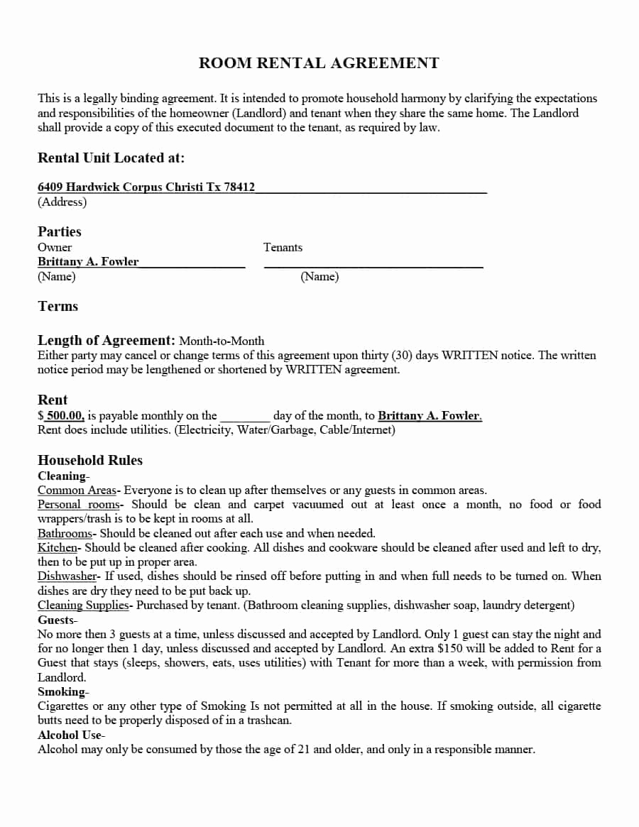 Basic Lease Agreement Template Inspirational 39 Simple Room Rental Agreement Templates Template Archive
