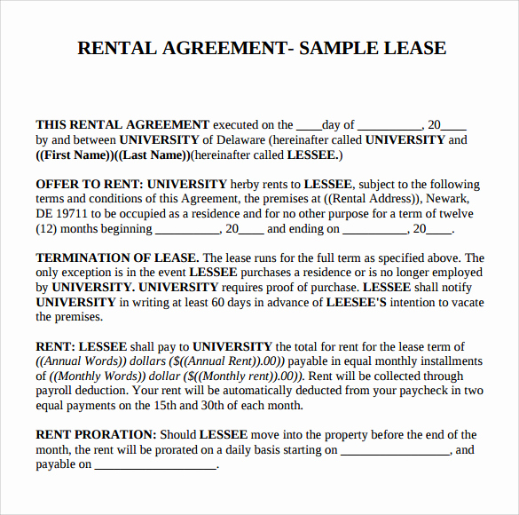 Basic Lease Agreement Template New 8 Sample Basic Rental Agreements
