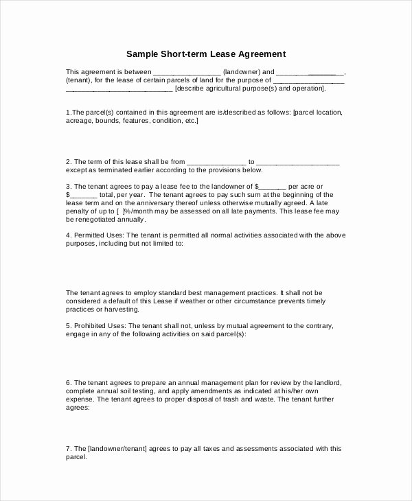 Basic Lease Agreement Template Unique 20 Basic Lease Agreement Examples Word Pdf