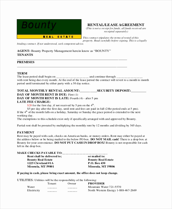 Basic Rental Agreement Pdf Awesome Sample Basic Rental Agreement form 11 Free Documents In