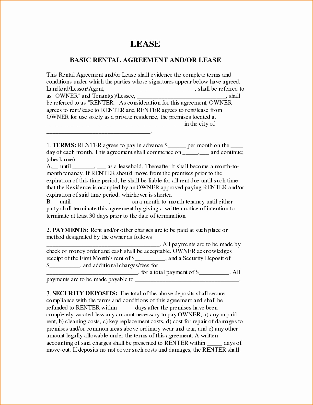 Basic Rental Agreement Pdf Beautiful 6 Basic Lease Agreement