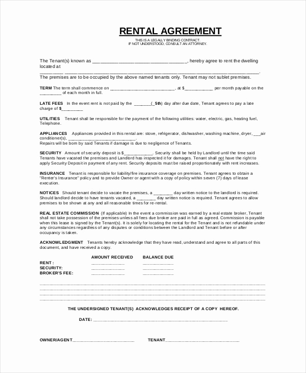 Basic Rental Agreement Pdf Best Of Simple Rental Agreement 33 Examples In Pdf Word