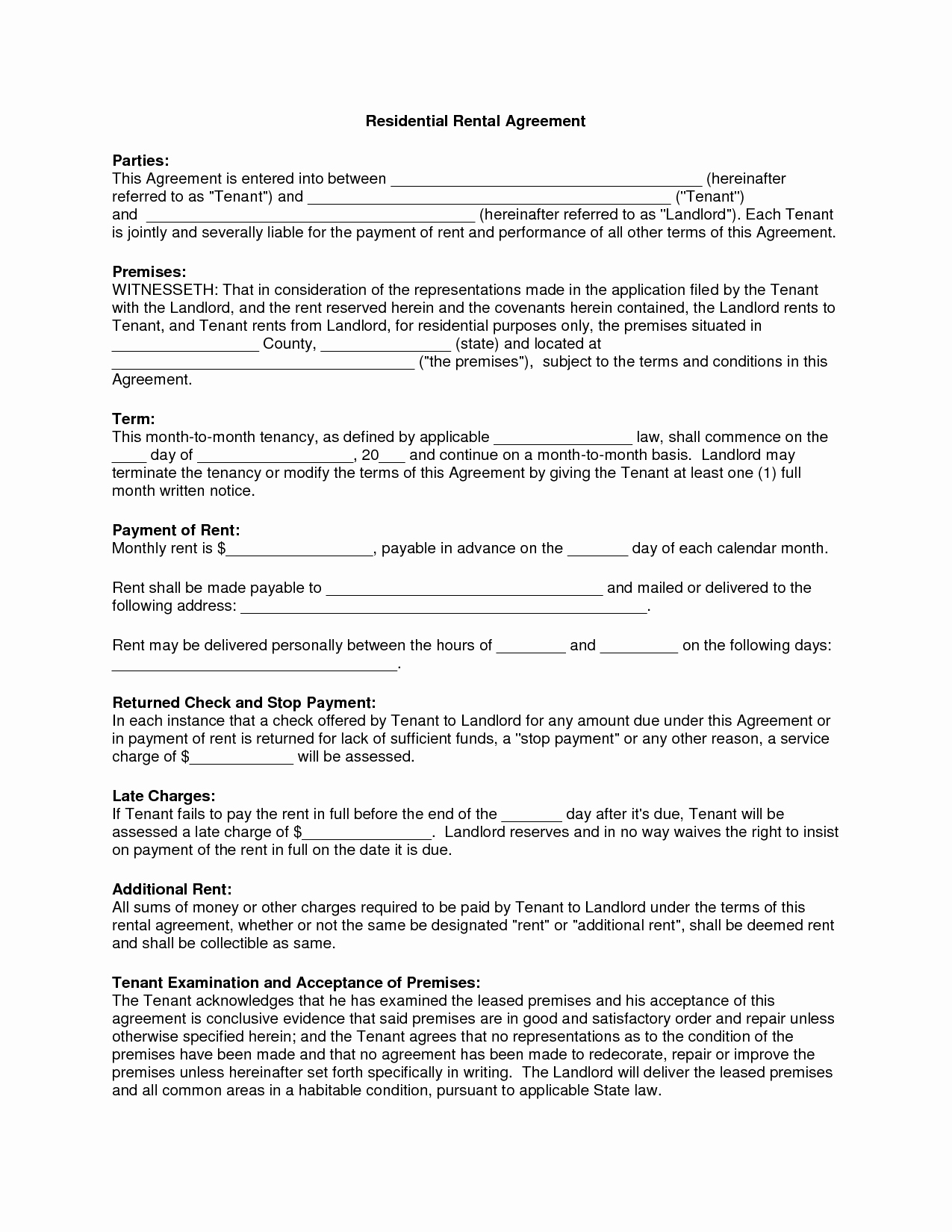 Basic Rental Agreement Pdf Fresh Basic Residential Lease Agreement Simple Pdf Free Rental