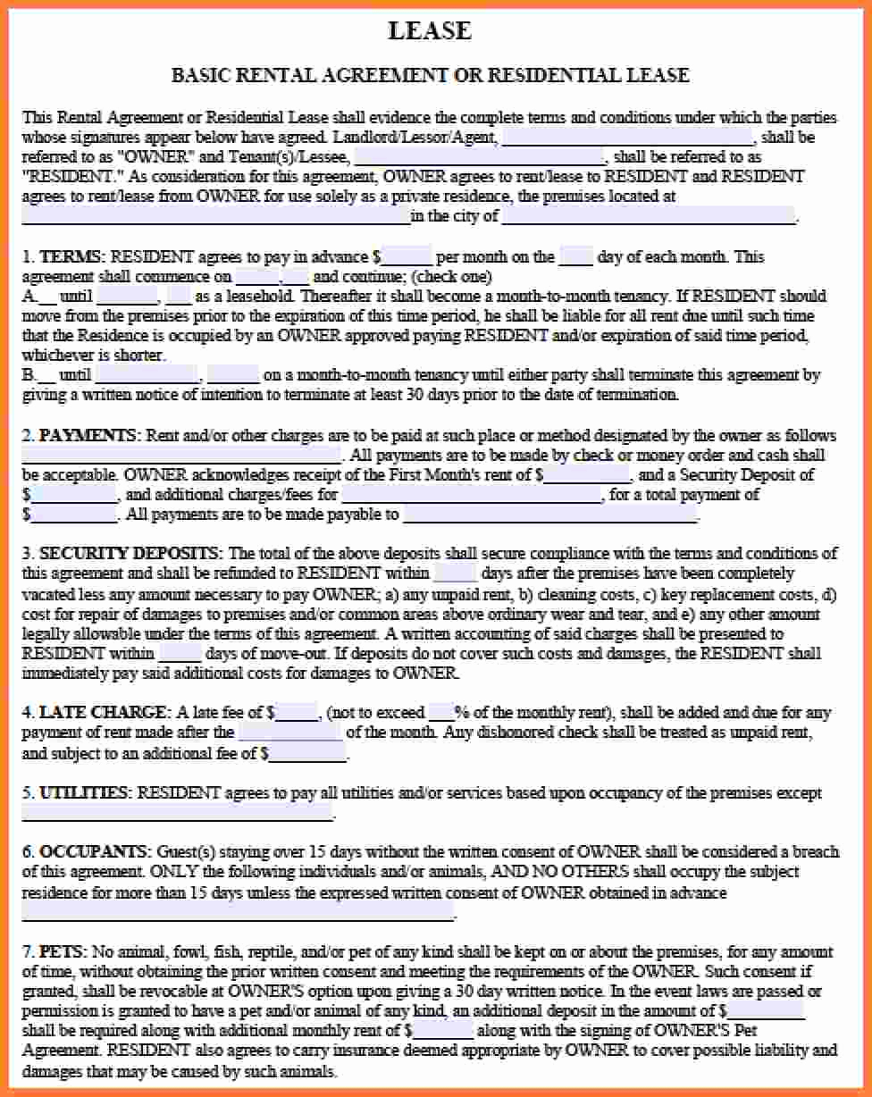 Basic Rental Agreement Pdf Luxury 8 Rental Lease Agreement Pdf