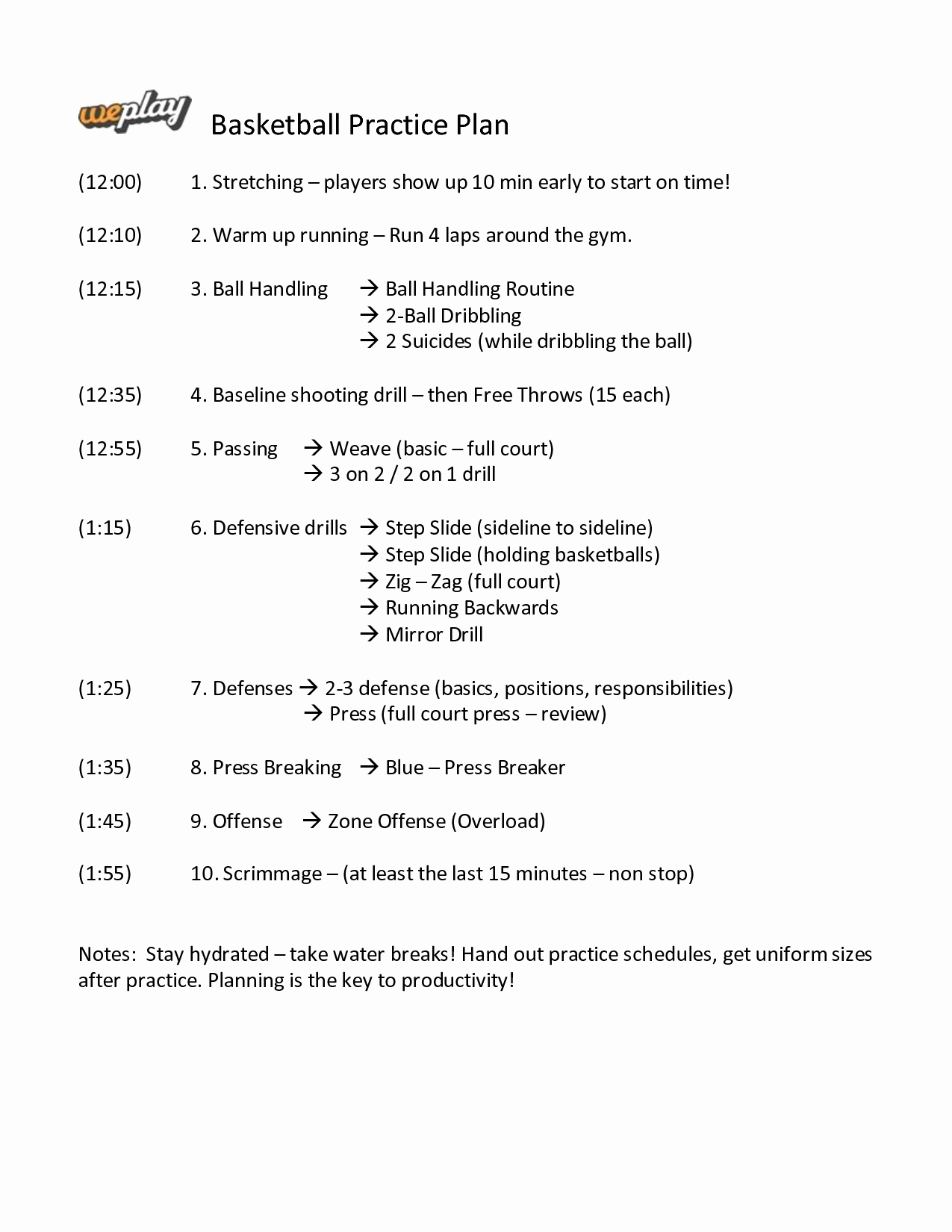 Basketball Practice Plan Template Luxury Basketball Practice Plan Template