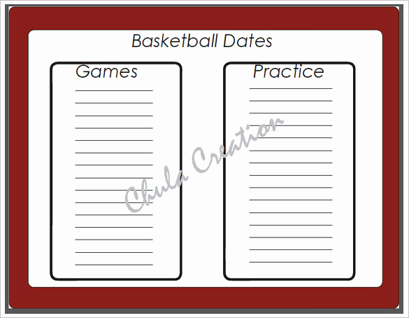 Basketball Practice Plan Templates Fresh 8 Basketball Schedule Templates & Samples Doc Pdf Psd