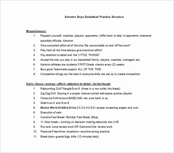 Basketball Practice Plan Templates Fresh Basketball Practice Plan Template 3 Free Word Pdf